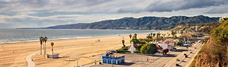 """""""After the Storm II"""" Santa Monica beach and Malibu to Point Dume. Unusually clear air after a rain."""