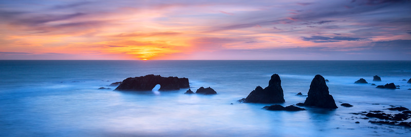 Arch Rock Sunset, Panoramic, Sea Ranch, California