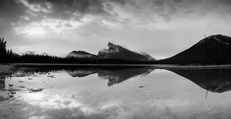 "Vermillion Lake #1 ""Sunrise"" B&W"