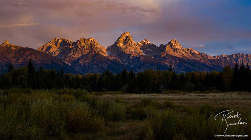 Sunrise on the Grand Teton mountains