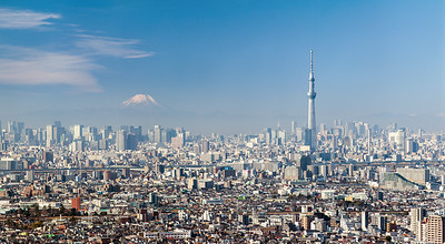 Fujisan with Tokyo Skytree