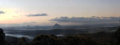 Glasshouse mountains pre-dawn