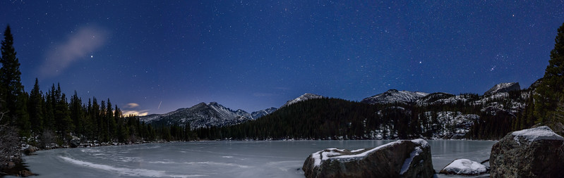 Moonlit Starry night at Bear Lake