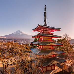 Beautiful view of Mount Fuji and Chureito pagoda before sunset