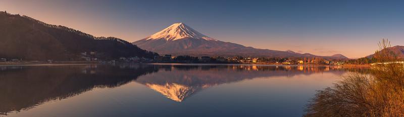Panoramic View of Mount Fuji at Lake Kawaguchi