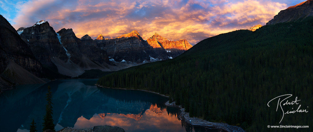 Moraine Lake in Banff National Park (buildings digitally removed)