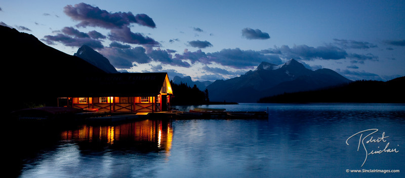 Maligne Lake Sunrise with Boat House
