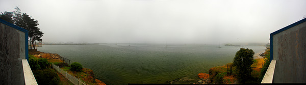 Panorama of Half Moon Bay in the fog (© James D. DeCamp | http://www.JamesDeCamp.com | 614-367-6366)