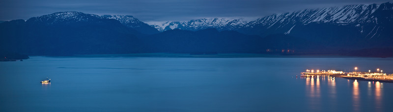 2 AM in the morning on June 21. Photograph of the Homer Spit.