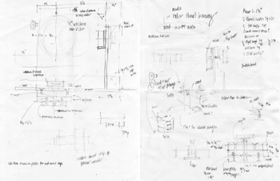 Sketching out the construction diagram and parts list in pencil. I didn't think of sharing these when I drew them or I would have made the lines darker and the whole thing more neat and organized. This is quick and dirty sketching before heading to the hardware store. These pages were scanned.
