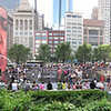 Crown Fountain, Chicago. <br /> Five Portrait images taken with Canon G10, stitched with AutoPano Giga.