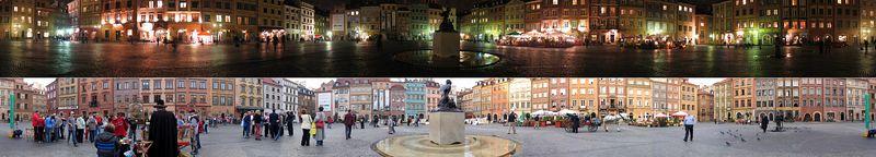 360 degree panorama of  Rynek (Market Place) in Old Town Warsaw, Poland taken both day and night.