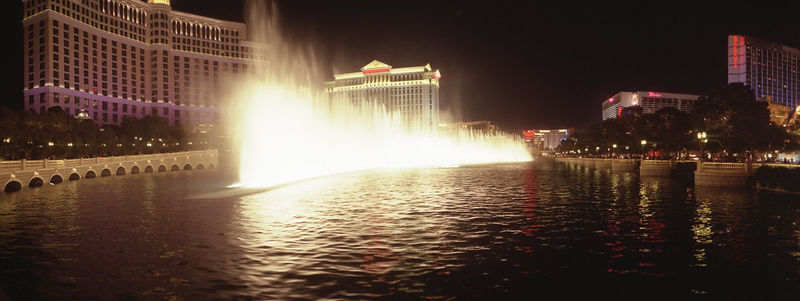 Dancing waters in front of Bellagio at night