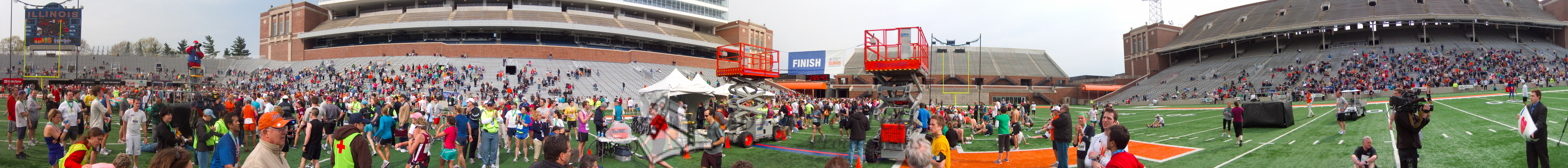 p145-1-p145-8half  Finish Time 2:26:40 Illinois Marathon 2011 Memorial Stadium Finish Line