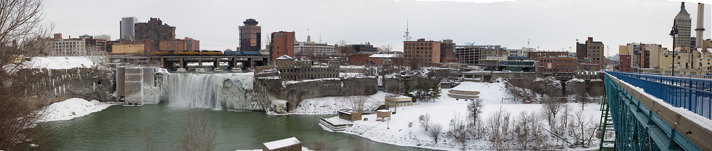 Upper Falls Rochester, NY  Kodak Office building extreme right panorama