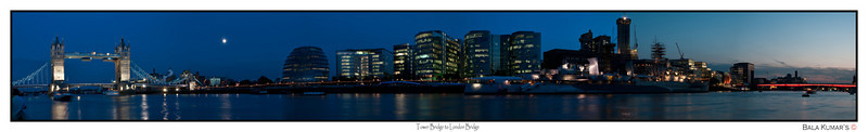 Tower Bridge to London Bridge...  This is a stitch of 6 photos of view from Tower Bridge to London Bridge...  For the big picture use the below link...   http://www.gigapan.org/gigapans/55149/