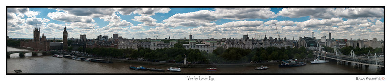 View from London Eye...  A stitch of 6 photos taken from London Eye... View of Big Ben and near by area...  Use the below link for the big picture...   http://www.gigapan.org/gigapans/55172/
