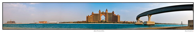 This is a stitch of 7 photos of the the Atlantis hotel in the Palm Jumeirah crescent in Dubai... To view bigger picture use the link below:   http://www.gigapan.org/gigapans/54752/