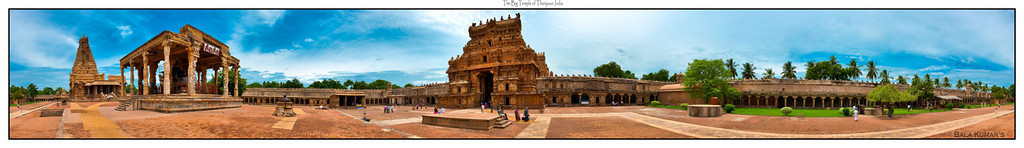 To view the bigger version please use the link and do not forget to click on the snapshot for zooming innnnnnn....   http://www.gigapan.org/gigapans/58783/  360 degree view of the Big Temple of Thanjavur in Taminnadu, India. This is a stitch of 15 photos taken hand held...  This was taken in August 2010... The entire Temple and the surrounding are is undergoing a massive cleaning as they prepare for 1000 year celebration... This was built in 1010 AD...  For those who are interested more information is given on the internet... link given below:  http://en.wikipedia.org/wiki/Brihadeeswarar_Temple  http://www.thebigtemple.com/   For your viewing and comments...