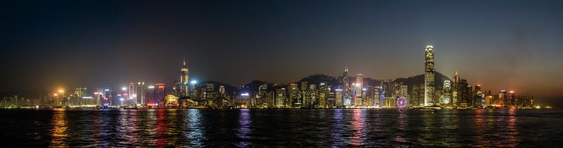 Nighttime Skyline Hong Kong Island Hong Kong, People's Republic of China 2015 (Stitched Panorama)