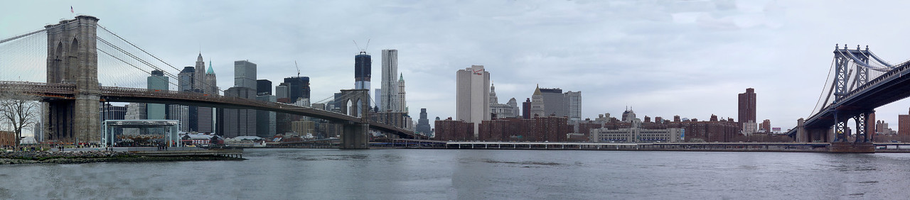 A panoramic view from Brooklyn Bridge Park Axt wedding site.