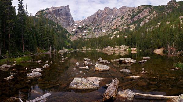 This is a 14 image pano, made of 2 rows of seven images at Dream Lake, in RMNP