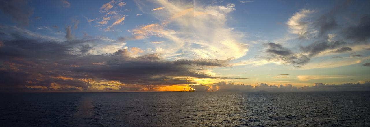 Sunset leaving Bora Bora South Pacific