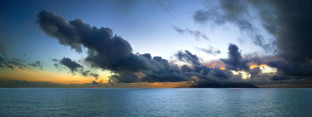 Panorama of Moorea from out at sea South Pacific