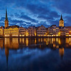 Zurich Panorama in the blue hour in Winter