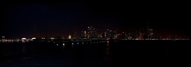 Chicago Waterfront from cruise at night
