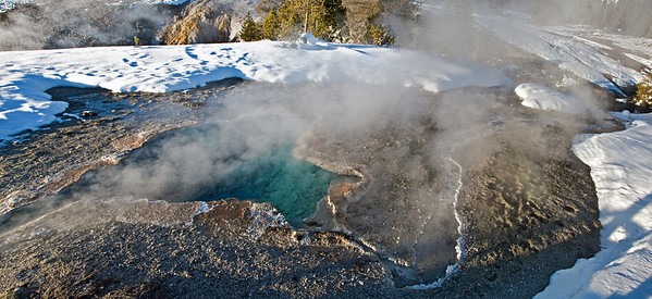 Blue water geyser yellowstone yellowstone in winter