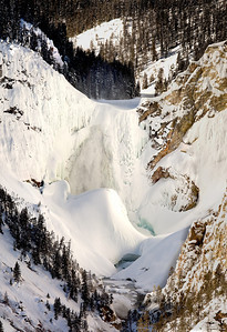 Great Yellowstone falls composite Panorama  yellowstone in winter