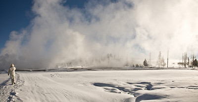 Wendy at west thumb Geyser basin. Panorama yellowstone yellowstone in winter