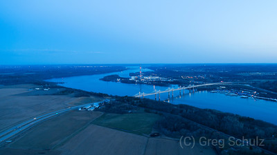 Sunset cool blue view of new st croix crossing bridge