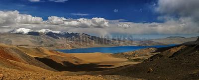 P26:Tsomoriri Lake (4250 Mtrs) as seen from Lyalung Nyalung La Pass (5545 Mtrs) on the Rumsey to Tso Moriri trek, Ladakh