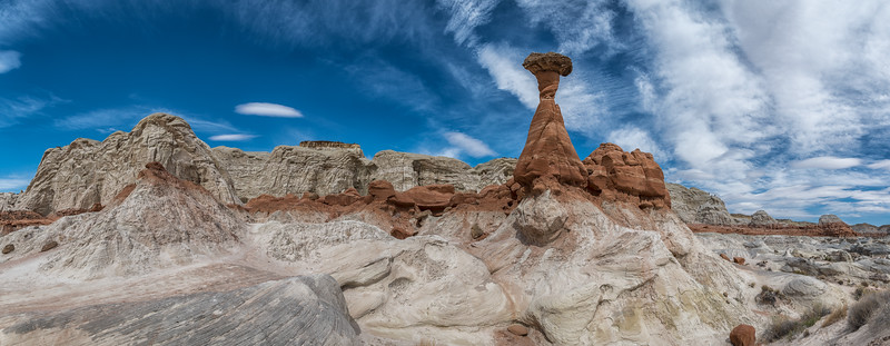 Toadstools rock formations on hike in Grand Staircase-Escalante National Monument, Utah