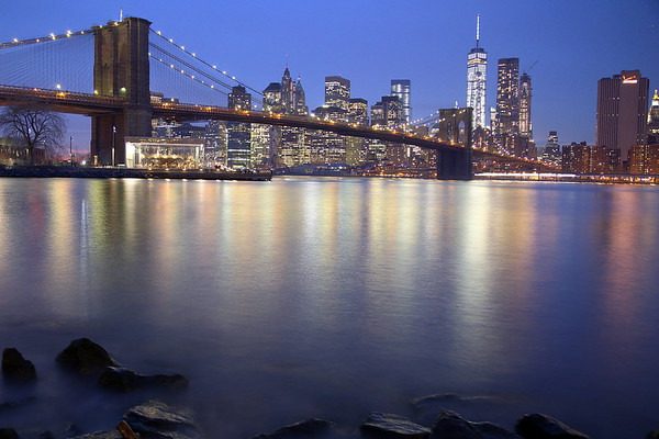 Brooklyn Bridge and Manhattan viewed from Brooklyn Bridge Park - Blue Hour