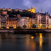 Panorama along the Saône at Lyon ...