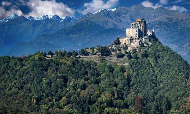 View of St. Michael's Abbey (Sacra di San Michele) from the Sentiero dei Franchi trail, Piedmont Region, Northwestern Italy