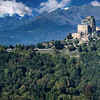 View of St. Michael's Abbey (Sacra di San Michele) from the Sentiero dei Franchi trail, Piedmont Region, Northwestern Italy