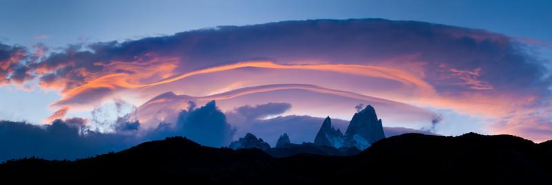 Lenticular Clouds over Fitz Roy Panorama – Los Glaciares National Park, Patagonia, Argentina