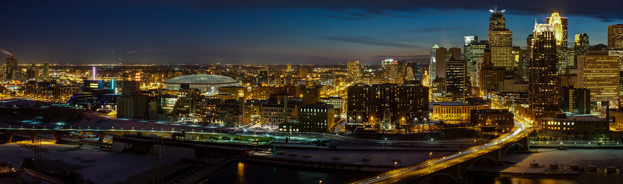 Minneapolis Skyline at Night - Guthrie Theater to 3rd Avenue