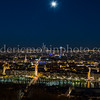 Lyon and the moon by night ...
