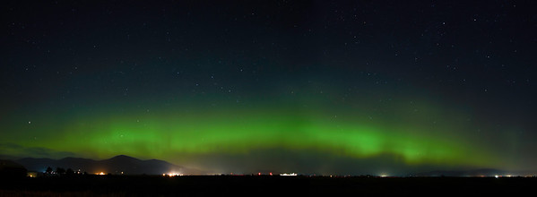 Northern Lights over Prairie Panorama