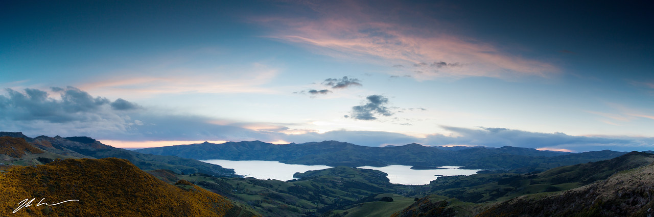 Sunset over Akaroa, South Island, New Zealand
