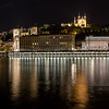 Panorama on the Saône in Lyon by night ...