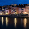 Blue Hour on the Saône at Lyon in panorama