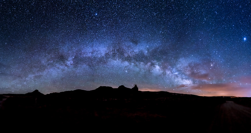 Panorama of the Milky Way over Mexican Hat Rock, Utah