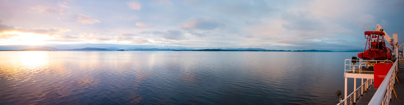 Sunset from the deck of the Malaspina on the way to Juneau, Alaska