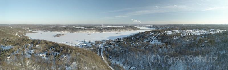 Frozen Snow Covered St. Croix River Valley Stillwater